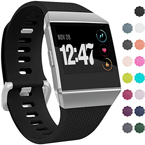 Wepro Bands Compatible with Fitbit Ionic SmartWatch, Watch Replacement Sport Strap for Women Men Kids, Buckle, Large, Black
