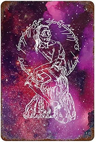 Galassia stellata profondo spazio esterno seduto vecchio, metallo vintage targa in metallo decorazione da parete arte 15.7'x11.8' family cafe decorazione da parete, retro arte pittura piastra di ferr