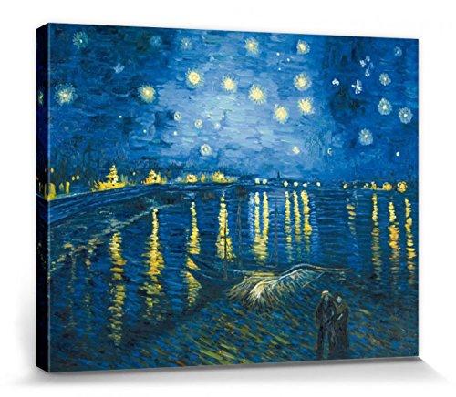 1art1 Vincent Van Gogh - Noche Estrellada sobre El Ródano, 1888 Cuadro, Lienzo Montado sobre Bastidor (50 x 40cm)