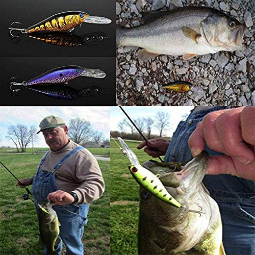 OROOTL Hard Fishing Lures Bait Minnow Lures Bass Crankbait Set Life-Like Swimbait Deep Diving Sinking Lures with Treble Hook for Bass Trout Walleye Redfish