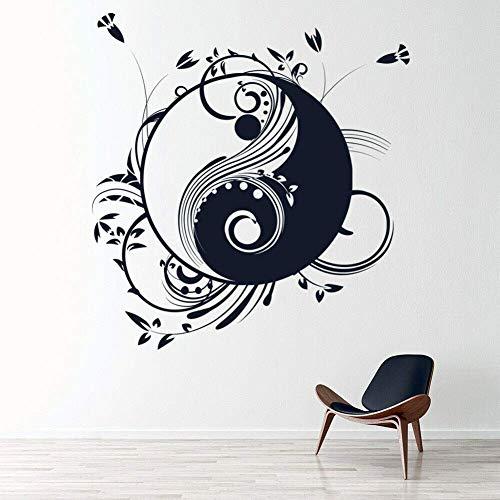 FGDJTYYJ Yin und Yang Wandtattoo Blumen Blumenmuster Kunst Kreative Wandbild Tür Fenster Vinyl Aufkleber Meditation Room Interior Decor 74x78 cm
