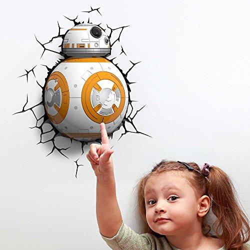 Veilleuse enfant 3D Light FX Star Wars – de BB-8 – Lampe murale led avec minuteur et sticker muraux