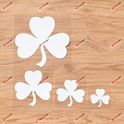 Shamrock Clover 3 Leaf Ireland Irish Vinyl Decal Sticker - 4 Pack White, 2 Inches, 3 Inches, 4 Inches, 6 Inches - Simple Style for Car Boat Laptop Cup