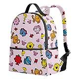 Kids Backpack Mr. Men Little Miss-6 Bookbag School Backpacks Casual Rucksack Purse Elementary School Bags for 1th- 3th Grade Girls Boys