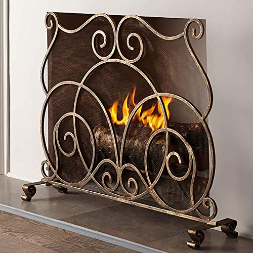 QAQA Outdoor Hearth Small Flat Guard Fireplace Screen, Heavy Duty Metal Mesh Spark Guard, Free Standing Fire Place Fence