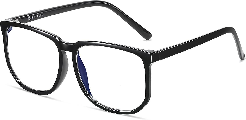 TR90 Oversized Blue Light Blocking Glasses Men Women Square Computer Eyewear Reduce Eye Strain