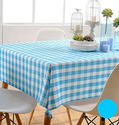 Liveinu Nappe Rectangulaire Tissu de Table Vichy Lavable Entretien Facile Résistant Imperméable Anti-tâche Nappe de Table pour Picnic Cuisine Jardin Terrasse Balcon 100x100cm Bleu