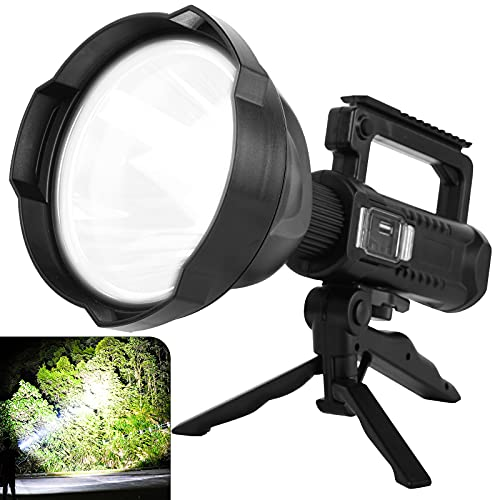 LED Rechargeable Spotlight with Upgraded XHP70 Chip, 90000 Lumen Super Bright Searchlight with 4 Modes & Waterproof Large Handheld Flashlight for Fishing, Camping, Working with Tripod & Power Output