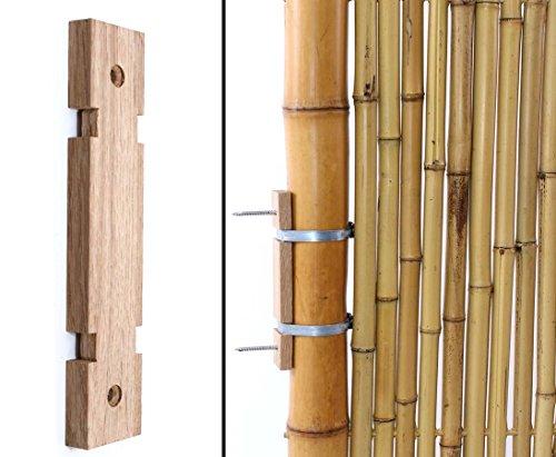 Bambusrohr Zaun-und Wand Halterung aus Eichenholz mit 2 Rohrschellen 6 bis 8cm