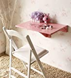 SoBuy Mesa Plegable de Pared, Mesa de Cocina, Mueble Infantil, Mesa para portátil, Mesa para Comer, Escritorio 60x40cm FWT03-P (Rosa)