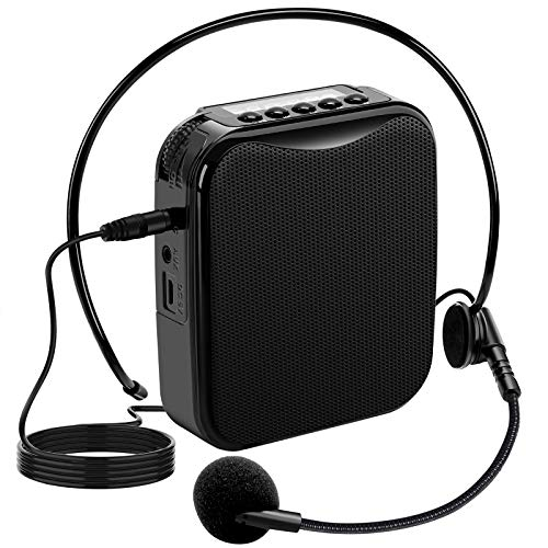 Portable Voice Amplifier Wired Microphone Headset Personal Mic Speaker 15W Support MP3 TF Card for Teacher Classroom Teaching Training Speeching Guiding and Live Streaming