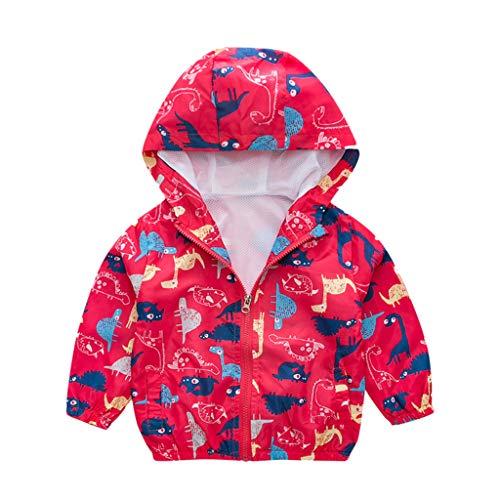 WFRAU Kleinkinder Cartoon Cute Print Jacke Jungen Mädchen Winddicht Langarm Windbreaker Hoody Outwear Herbst Dünner Mantel für Babys Stilvolle Oberbekleidung,für 18 Monate bis 6 Jahre