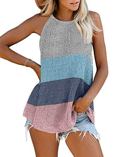 AlvaQ Women Summer Casual Sleeveless Shirt Sexy Halter Neck Colorblock Striped Loose Tank Tops Fashion 2020 Grey Small