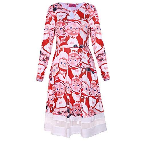 AicciAizzi Mujer Partido Alinear Vestido Western Christmas Vestido Cuello Redondo Manga Larga Vestido 1216White-XL
