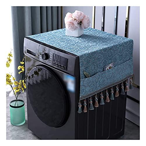 Cubierta para Lavadora Cubierta antiincrustante, antiarañazos y de Estilo Hermoso con Borla, para refrigerador/Lavadora/microondas 3 Colores (Tamaño: 33 * 100 cm, Color: Azul-A)