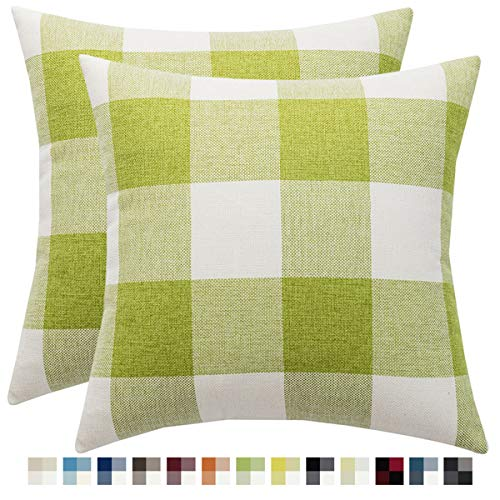 Set of 2 Buffalo Check Plaid Throw Pillow Covers Decorative Home Decor Cushion Case for Sofa Bedroom Car, Green and White, 24 x 24 Inches