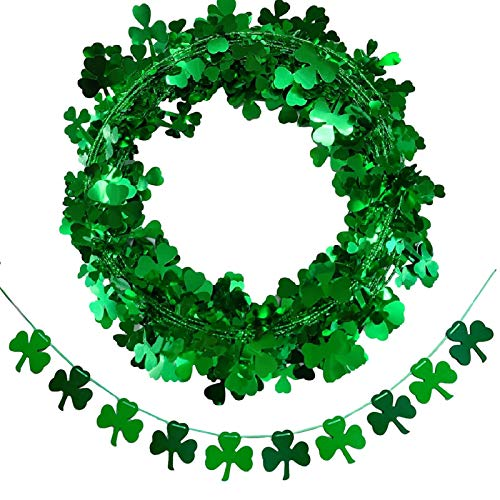 St. Patrick's Day Shamrock Garland Banner Decorations - Green Tinsel Wreath for Front Door Banner Garland for Irish St Patrick Party Supplies Favors Home Wall