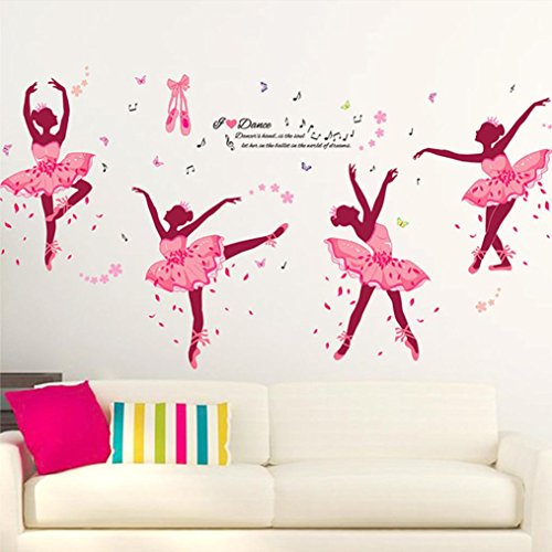 OHQ Pegatina De Pared Chica Ballet Rosa