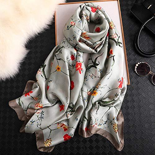 ALWYHH vrouwen zijden sjaal vrouwelijke rooster sjaals dames strand wrap chiffon wrap zonnebrandcrème sjaal foulard uitlaat bandanna