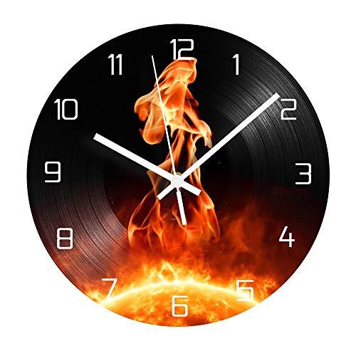 Reloj de pared de vinilo fire vintage CD clockwood mesa lámpara de mesa lámparas de mesa de noche lámpara de mesa de batería