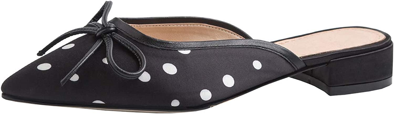 Artfaerie Womens Flat Polka Dot Slippers Pointed Toe Satin Bow Mules Clogs Dress Open Back Sandals