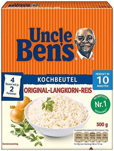 Uncle Ben's Original Langkorn Reis, 10 Minuten Kochbeutel, 12 Packungen (12 x 500g)