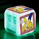 MUZILIZIYU Regalo de cumpleaños Los Simpson Color Color Color Ing-Change Alarm Reloj de Alarma LED Quad Bell Niños Regalo Creativo de los niños Pequeño Reloj de Alarma 17,21 Adecuado para niños