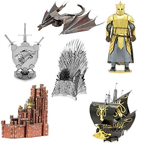 Fascinations Metal Earth ICONX Kit de modelo de metal 3D Juego de Tronos Set de 6 – Rojo Mantener – Silencio – Casa Stark Sigil – Drogon – La montaña – Trono de hierro