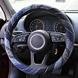 Copap 15 inch Car Steering Wheel Cover Blue Baja Blanket Woven Cloth Fit Most Auto Cars Coarse Flax Cloth…