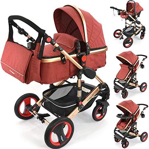 Daliya Bambimo 3 in 1 Kinderwagen - Kombikinderwagen Riesenset 14-Teilig incl. Babywanne & Buggy & Auto-Babyschale - Alu-Rahmen/Voll-Gummireifen - Wickeltasche/Regenschutz/Kindertisch in Elegance Rot