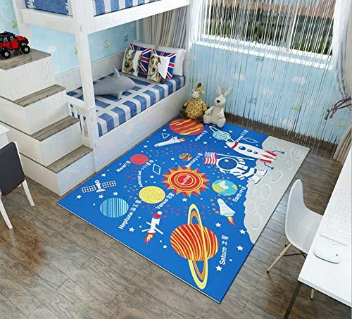 Alfombra Infantil Estampado De Dibujos Animados Planeta Cósmico Sala De Estar Dormitorio Cama Bebé Manta Gateando 80cmx150cm