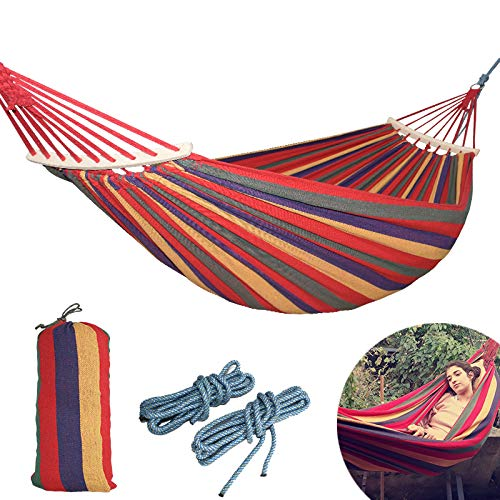 ThreeH Extra Large Hammock Fabric Canvas Camping Hammock with Tree Hanging Suspended Outdoor Indoor Bed