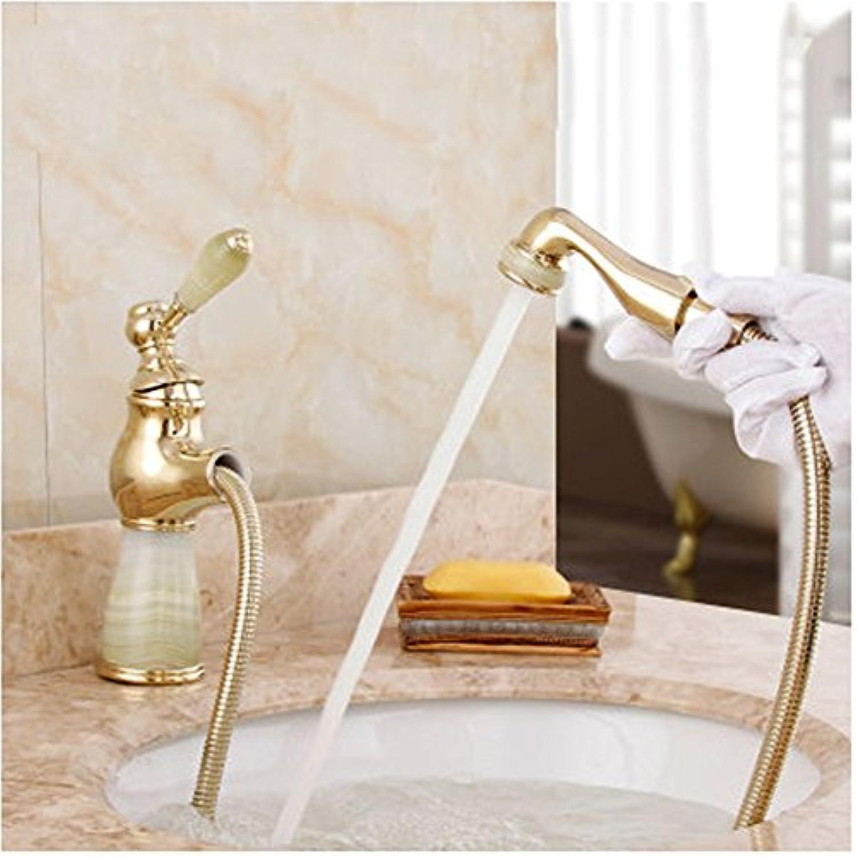 MIWANG Continental Antique Gold Jade Dragon, Cu alle ziehen Bad Armatur, Waschtisch Dusche mit heiem und kaltem Wasser, Abs. B