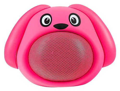 iCutes Dieren Bluetooth luidspreker (Mini kinderluidspreker box in dierlijk design & handsfree functie), Hond roze