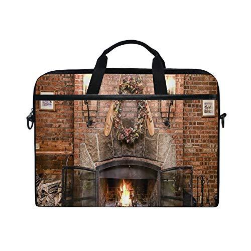 VICAFUCI New 15-15.4 Zoll Laptop Tasche,Umhängetasche,Handtasche,Frohe Weihnacht-Winter-Jahreszeit Burnning Kamin mit hölzerner Wand des roten Backsteins