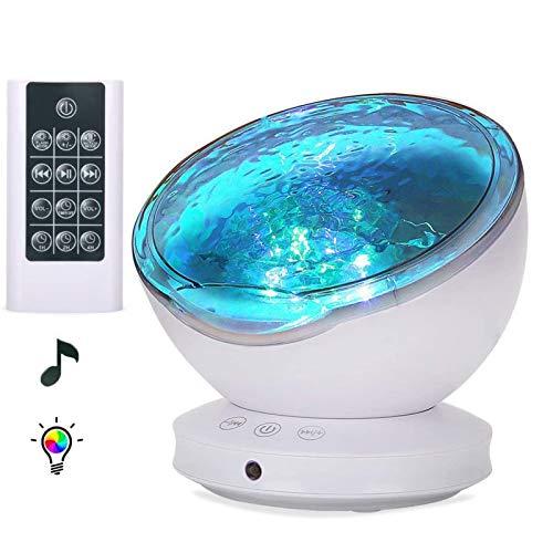 Star Night Light Kids, Proyector Baby Night Light Proyector 360 ° Giratorio Ocean Wave Night Lights Proyector Que Cambia De Color con Reproductor De Música Bluetooth para Niños Y Adultos