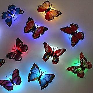 TAKSON LED Butterfly Decoration Night Light 3D Butterfly Sticker Wall Light for Garden,Backyard,Lawn,Party,Festive(12PCS)