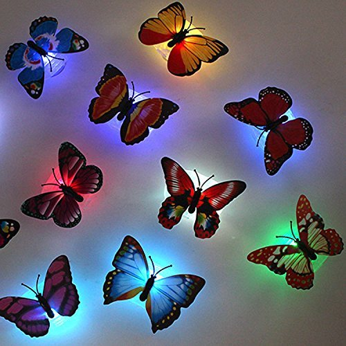 Firefly Romantic Magic LED Colorful Butterfly Decorative Light Stick On Butterfly Wall Light Decor LED Night Light de 12 pack for Festive Gift Garden Home Party