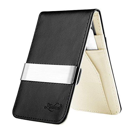 Zodaca Horizontal Genuine Leather Money Clip Wallet, Black/White