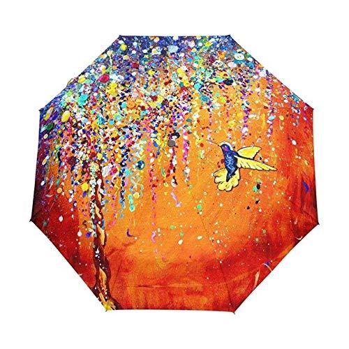 NJSDDB paraplu creatieve kleurrijke kolibrie paraplu anti-uv zon bescherming paraplu vogel 3 vouwen cadeau zonnig regenachtige paraplu's voor vrouwen, Full automatic
