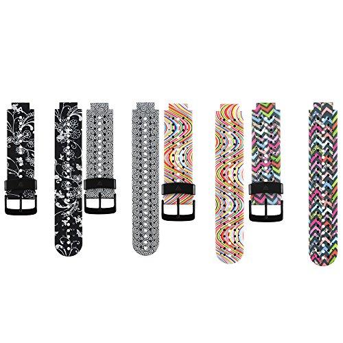 Fit-power Bracelet de rechange en silicone souple pour montre connectée Garmin Forerunner 235 / 235 Lite / 220 / 230 / 620 / 630 / 735, Bracelet Garmin Forerunner 235 4D.