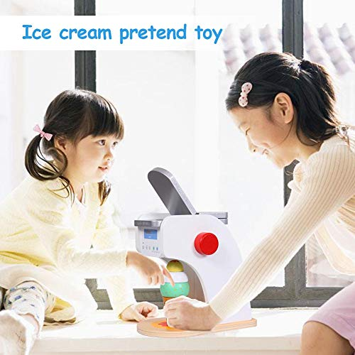 Kinder Eiswagen Spielzeug aus Holz, Eismaschine Pretend Toy, Holz Simulation Eismaschine Spielzeug Set, Pädagogisches Eis Spielzeug Set Zubehör für Kinder