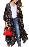 Hibluco Damen Florale Kimono Cardigan Strand Chiffon Bluse Tops Bikini Cover Up (XXX-Large, K63)