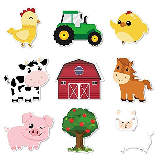 WERNNSAI Bauernhof Party Herzstücksticks - 27 PCS DIY Nutztiere Herzstückkarten Tischplatten Barnyard Ausschnitte Party Dekorationen für Kinder Geburtstag Baby Shower