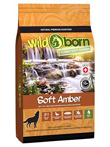 Wildborn Hundefutter getreidefrei Soft Amber 4 kg | Sensitives Soft Hundefutter mit 70% frischem Entenfleisch