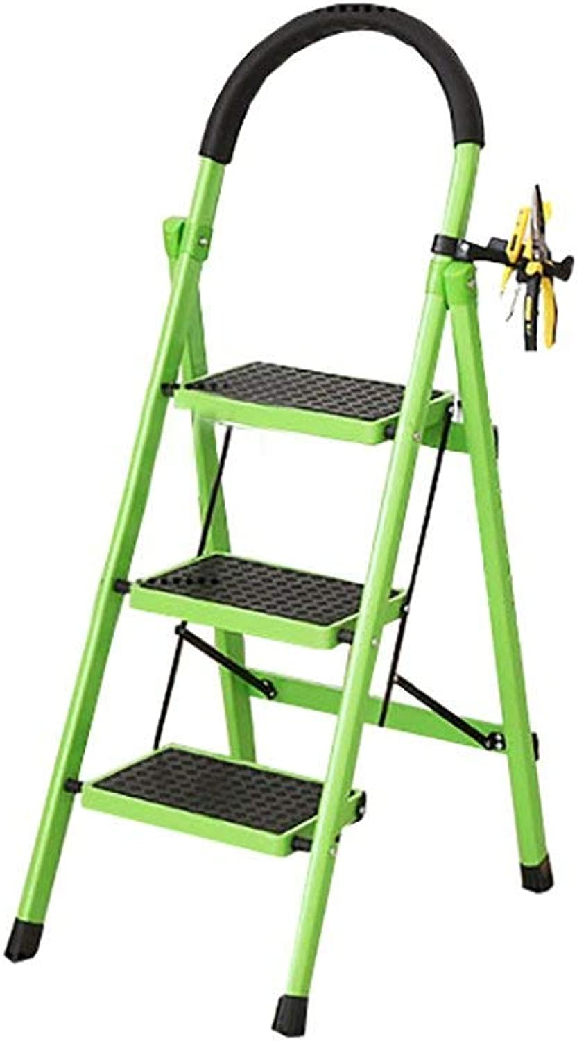 XITER 3 5 Tier Stairs Stool Metal Folding Ladder Stool Indoor Non-Slip Tread High Ladder Multi-Functional Safety Stepladder Stool (color   Green, Size   3 Tier)