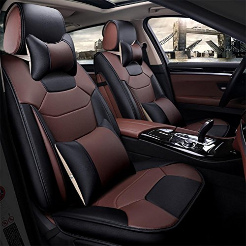 SEAT COVERS RUIRUI Coussins de Housse de siège d'auto Cuir en PU, Avant arrière Ensemble Complet Couvre-sièges d'auto, Coffee