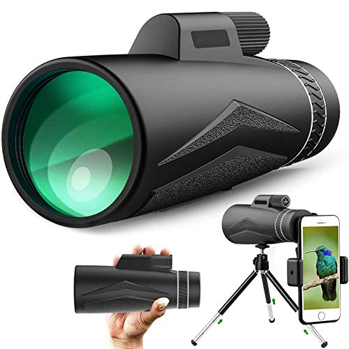 YIQIFEI Telescopio monocular Starscope 12X50 HD BAK4 Prisma monocular impermeable con zoom + soporte para smartphone y trípode para (monocular)