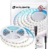 HitLights Cool White LED Light Strip, Premium High Density 5050-16.4 Feet, 300 LEDs, 5000K, 384 Lumens per Foot. 12V DC Tape Light. UL-Listed
