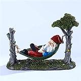 WULOVEMI Statues de Plein air Hamac GNOME Statues Jardin Résine Résine Ornement Funny Dwarf Sculpture Miniature Jardin Décorations pour Miniature Woodland